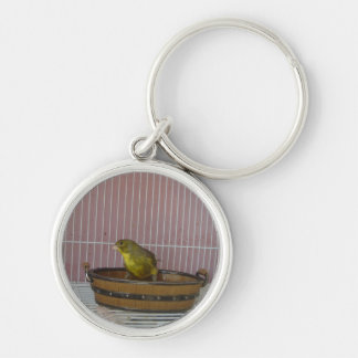 Canary old time bath tub Silver-Colored round key ring