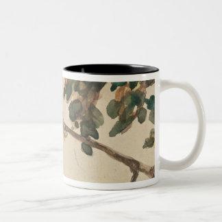 Canary on an Oak Tree Branch Two-Tone Coffee Mug
