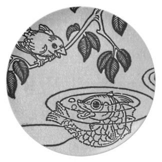 Canary Speaks to Fish in Lake Illustration Party Plate