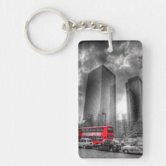 Canary Wharf London Double-Sided Rectangular Acrylic Key Ring