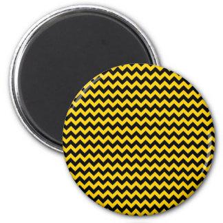 Canary Yellow And Black Zigzag Chevron Pattern Fridge Magnets