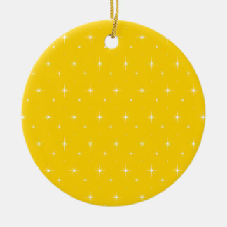 Canary Yellow And Bright Stars Pattern Christmas Ornament