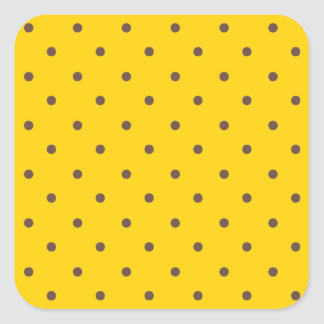 Canary Yellow And Light Brown Polka Dots Square Sticker