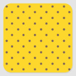 Canary Yellow And Light Brown Polka Dots Square Stickers