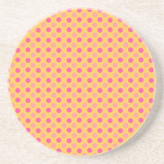 Canary Yellow And Pink Polka Dots Pattern Beverage Coasters