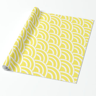 Canary Yellow and White Fans Wrapping Paper