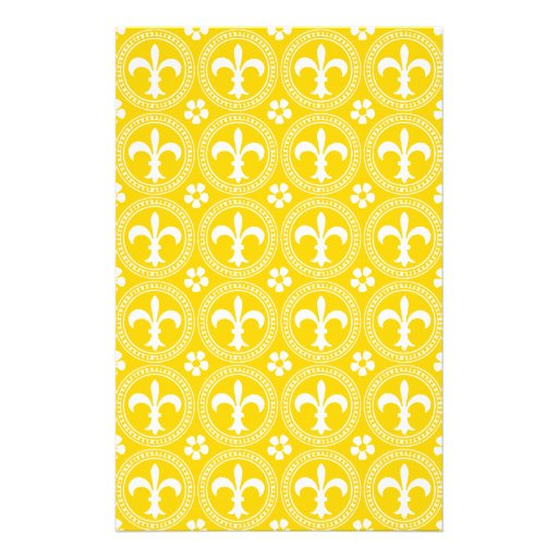 Canary Yellow And White Fleur De Lis Pattern Stationery Paper
