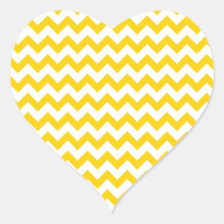 Canary Yellow And White Zigzag Chevron Pattern Heart Sticker