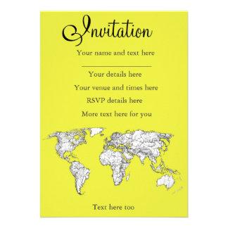 canary yellow atlas diagram custom invitation