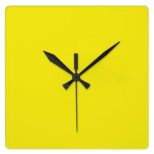 Canary Yellow Bright Fashion Color Trend 2014 Square Wallclocks