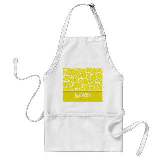 Canary Yellow Giraffe Animal Print Adult Apron