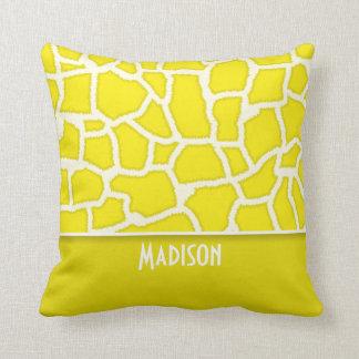 Canary Yellow Giraffe Animal Print Throw Pillow