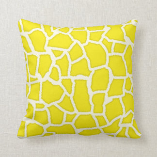 Canary Yellow Giraffe Animal Print Throw Pillow