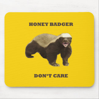 Canary Yellow Honey Badger Don't Care Pattern Mouse Pads