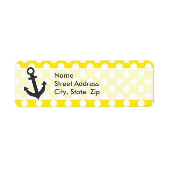 Canary Yellow Polka Dots; Anchor Return Address Label