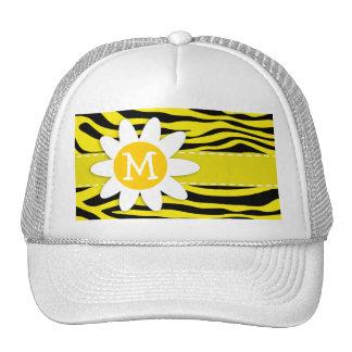 Canary Yellow Zebra Print; Daisy Trucker Hat
