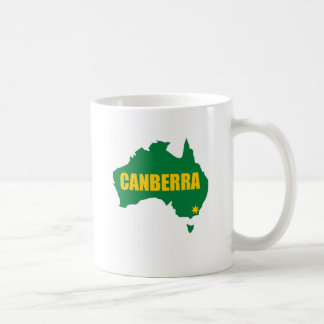 Canberra Green and Gold Map Coffee Mugs