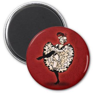 Cancan Dancer 6 Cm Round Magnet