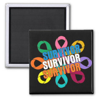 Cancer Awareness Flower Ribbon -  Cancer Survivor Square Magnet