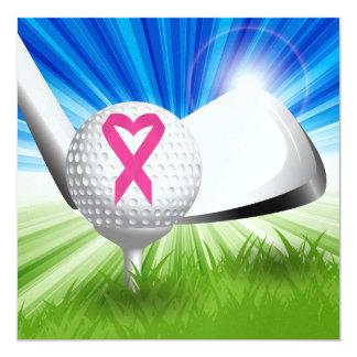 Cancer Awareness Pink Ribbon Golf 13 Cm X 13 Cm Square Invitation Card