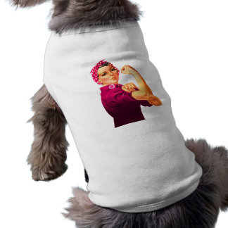 Cancer Awareness Rosie The Riveter Dog Tee