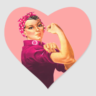 Cancer Awareness Rosie The Riveter Heart Sticker
