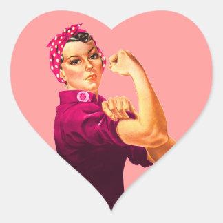 Cancer Awareness Rosie The Riveter Heart Sticker