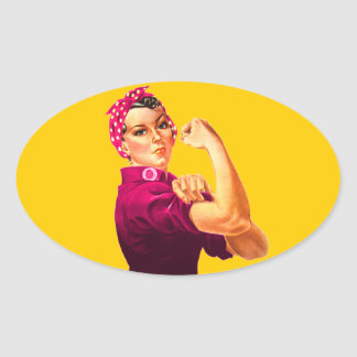 Cancer Awareness Rosie The Riveter Oval Sticker