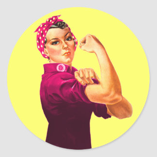 Cancer Awareness Rosie The Riveter Round Sticker