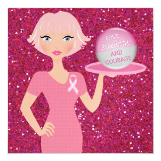 Cancer Awareness - Serving Strength and Courage 13 Cm X 13 Cm Square Invitation Card