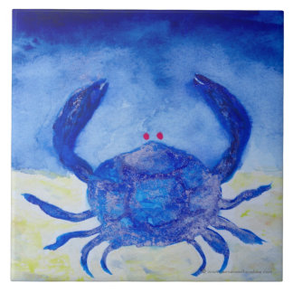 Cancer Blue Zodiac Symbol Tile