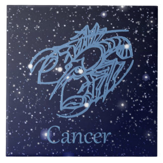 Cancer Constellation and Zodiac Sign with Stars Large Square Tile