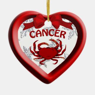 Cancer Crab Heart Snowflake Christmas Ornament