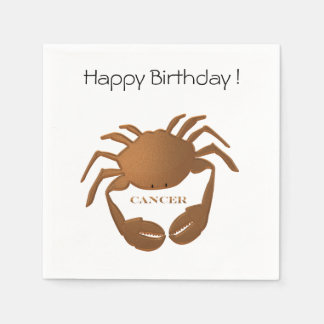 Cancer Crab Zodiac Happy Birthday Disposable Napkins