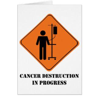 Cancer destruction in progress notecard
