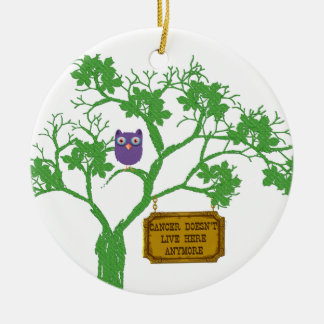 Cancer Doesn't Live Here Tree Owl Christmas Ornament
