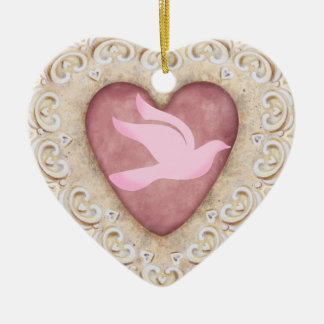 Cancer Dove From the Heart - SRF Ceramic Heart Decoration