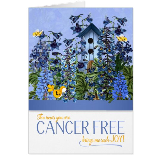 Cancer Free Brings Me Joy Blue Larkspur Card