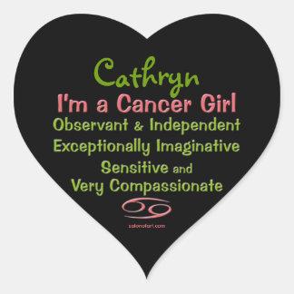 Cancer Girl Personalized Zodiac Heart Sticker