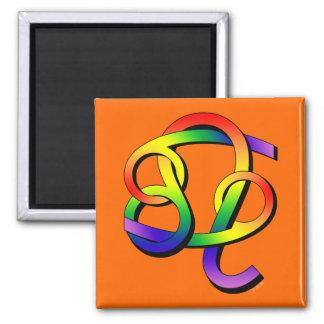 Cancer & Leo GLBT Partners Square Magnet