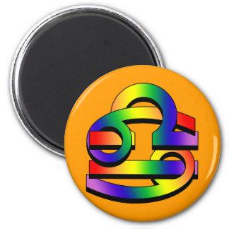 Cancer & Libra GLBT 6 Cm Round Magnet