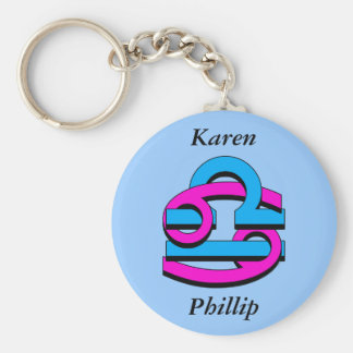 Cancer & Libra PkBl Basic Round Button Key Ring