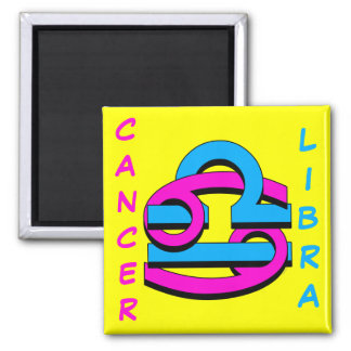 Cancer & Libra PkBl Square Magnet