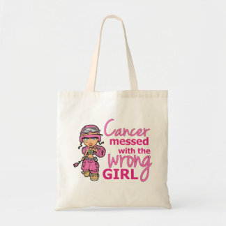 Cancer Messed With The Wrong Girl 2 Breast Cancer Budget Tote Bag