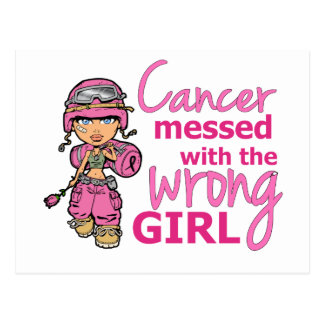 Cancer Messed With The Wrong Girl 2 Breast Cancer Postcard