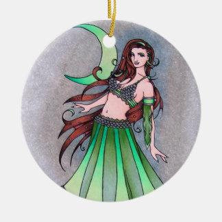 Cancer moon belly dancer round ceramic decoration