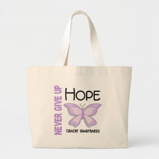 Cancer Never Give Up Hope Butterfly 4.1 Jumbo Tote Bag