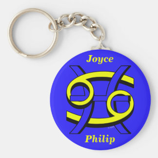 Cancer & Pisces BY Basic Round Button Key Ring