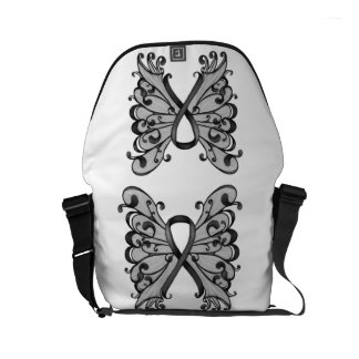 Cancer Ribbon Black with Butterfly Wings, Melanoma Commuter Bag