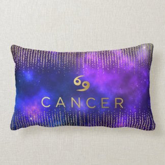Cancer Sign Custom Name Lumbar Throw Pillow